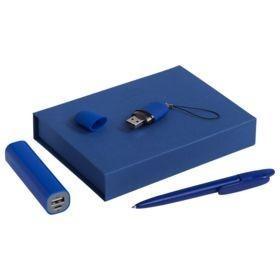 Набор Bond: аккумулятор, флешка и ручка, синий