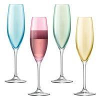 Набор бокалов для шампанского Polka Flute, пастельный