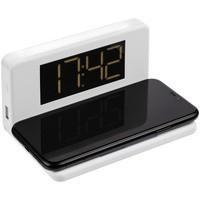 Часы настольные с беспроводным зарядным устройством Pitstop, белые