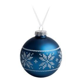 Елочный шар «Скандинавский узор», 8 см, синий