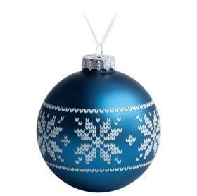 Елочный шар «Скандинавский узор», 10 см, синий